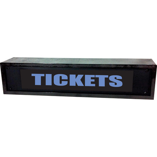 American Recorder TICKETS Sign with LEDs & Black Enclosure (2 RU, Blue)