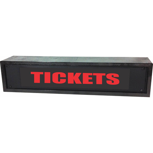 American Recorder TICKETS Rackmount Indicator Sign with LEDs and Black Enclosure (2 RU, Red)