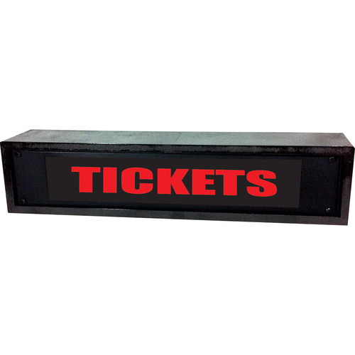 American Recorder TICKETS Sign with LEDs & Black Enclosure (2 RU, Red)