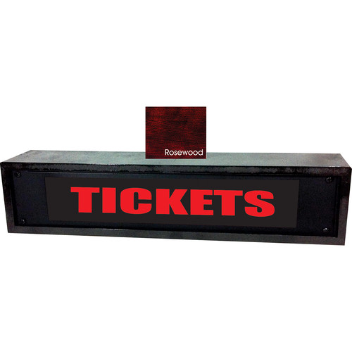 American Recorder TICKETS Sign with LEDs & Rosewood Enclosure (2 RU, Red)