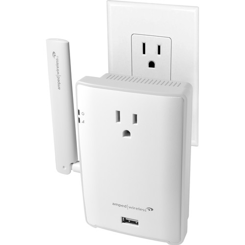 Amped Wireless REC22P AC1200 Wi-Fi Range Extender with Pass-Thru Power Outlet & USB Charging Port