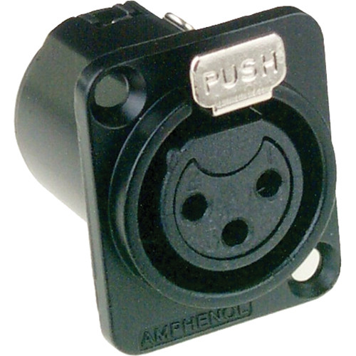 Amphenol AC Series XLR 3 Pole Female Chassis Connector with Standard Contacts (Black Finish)