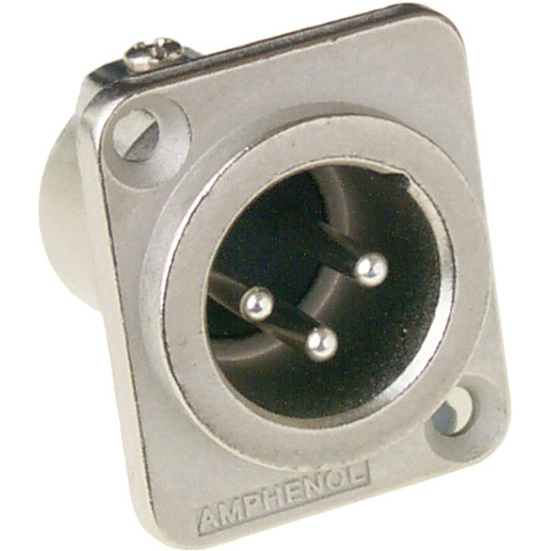 Amphenol AC Series XLR 3 Pole Male Chassis Connector with Gold Plated Contacts (Nickel Finish)