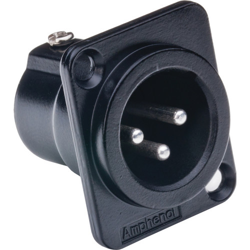 Amphenol AC Series XLR 3 Pole Male Chassis Connector with Gold Plated Contacts (Black Finish)