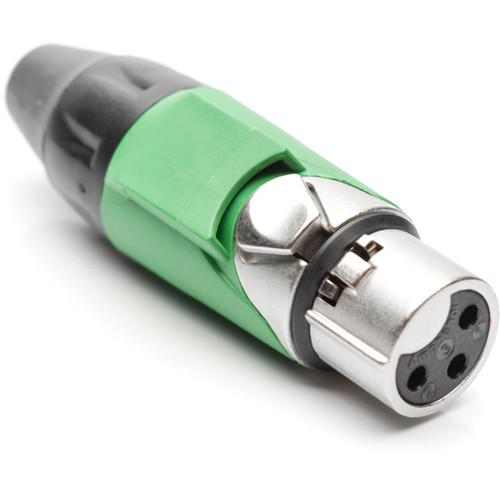 Amphenol AX3F5M 3-Pole Female XLR Connector with Satin-Nickel Finish (Green Mark Sleeve)