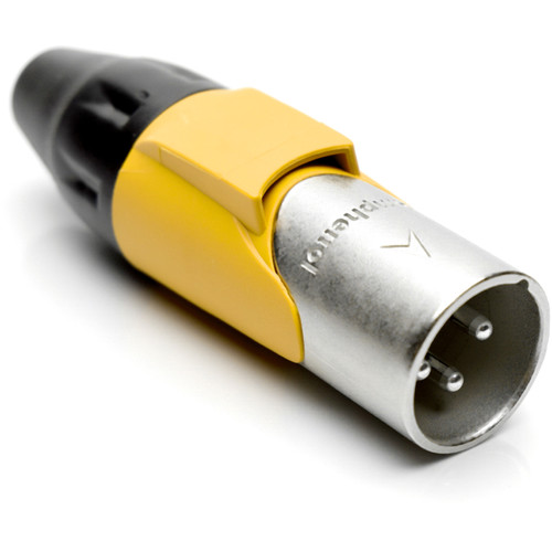 Amphenol AX3M4M 3-Pole Male XLR Connector with Silver Contacts and Satin-Nickel Finish (Yellow Mark Sleeve)