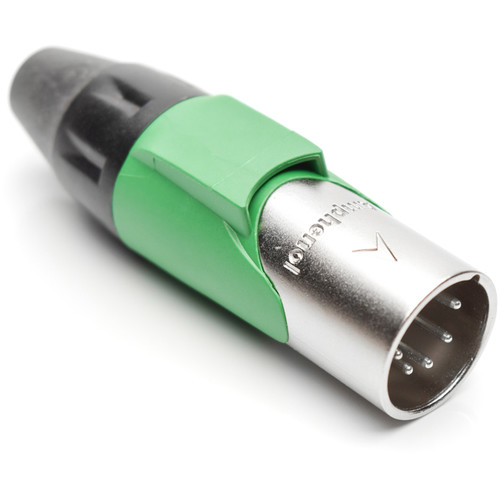 Amphenol AX Series 5-Pin XLRM Cable Connector with Marking Sleeve (Green)