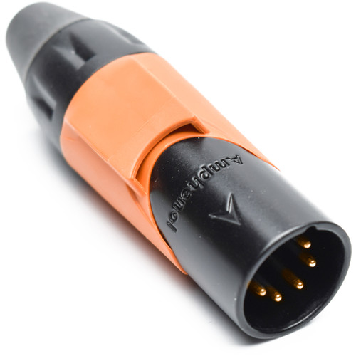 Amphenol AX Series 5-Pin XLRM Cable Connector with Marking Sleeve (Orange)