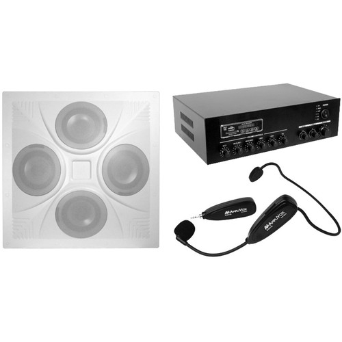 """AmpliVox Sound Systems Classroom Audio System with Drop-In 4x6.5"""" Ceiling Speaker, 7-Channel Mixer, and Wireless Microphone"""