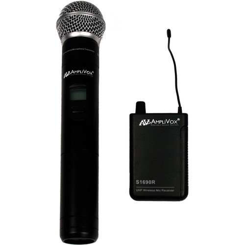 AmpliVox Sound Systems S1623 16-Channel Wireless UHF Handheld Mic Kit