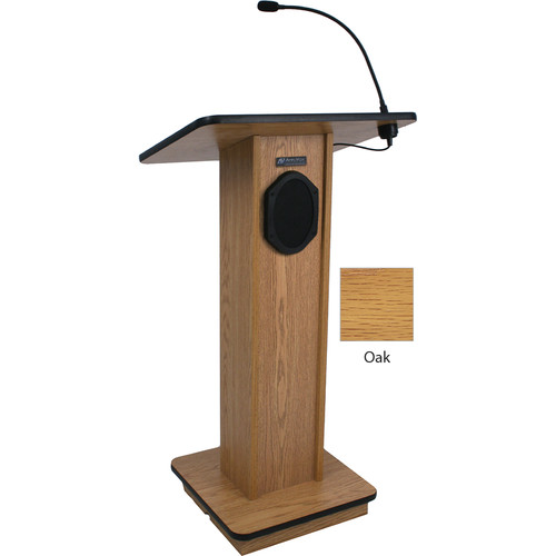 AmpliVox Sound Systems Elegant Wood Elite Lectern with Sound System (Oak)
