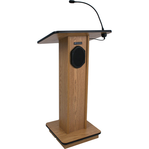 AmpliVox Sound Systems Elegant Wood Elite Lectern with Sound System (Walnut)