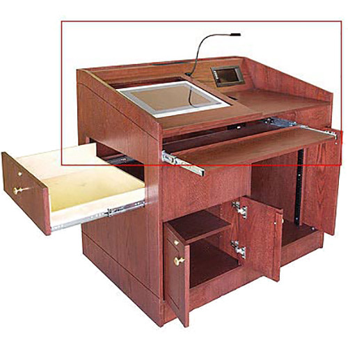 AmpliVox Sound Systems Split Top Angled Top/Reading and Flat Surface/Equipment Space for SW3030 Solid Hardwood Lectern