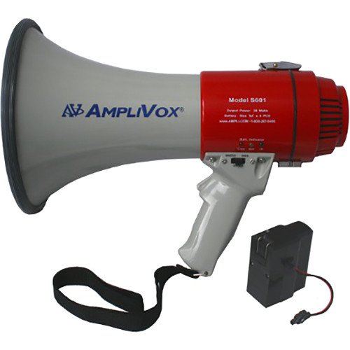 AmpliVox Sound Systems S601R Mity-Meg 15W Megaphone with S1402 Rechargeable Battery Pack