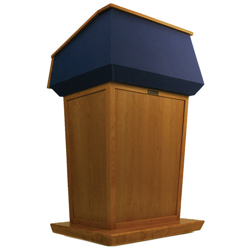 AmpliVox Sound Systems Patriot Lectern (Non-Sound, Natural Cherry with Blue Canvas Accent)