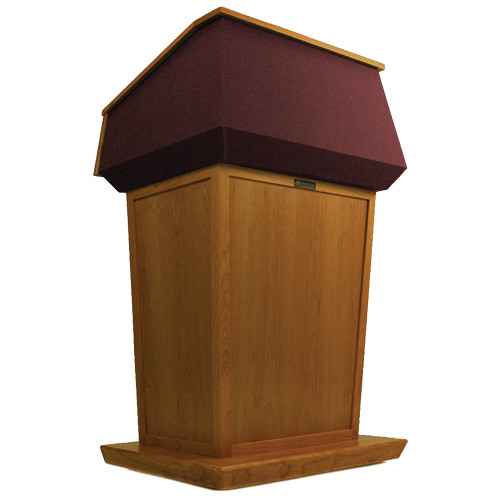AmpliVox Sound Systems Patriot Lectern (Non-Sound, Natural Cherry with Red Canvas Accent)