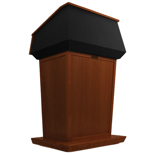 AmpliVox Sound Systems Patriot Lectern (Non-Sound, Mahogany with Black Canvas Accent)