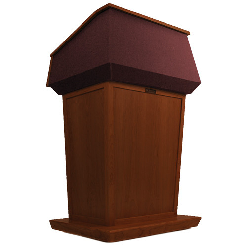 AmpliVox Sound Systems Patriot Lectern (Non-Sound, Mahogany with Red Canvas Accent)