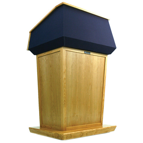 AmpliVox Sound Systems Patriot Lectern (Non-Sound, Maple with Blue Canvas Accent)