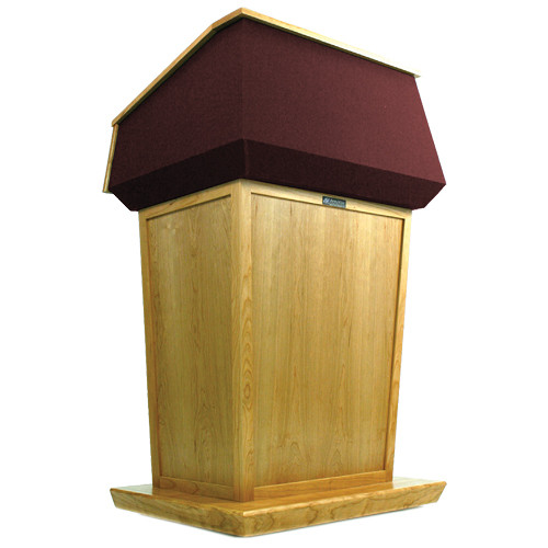 AmpliVox Sound Systems Patriot Lectern (Non-Sound, Maple with Red Canvas Accent)