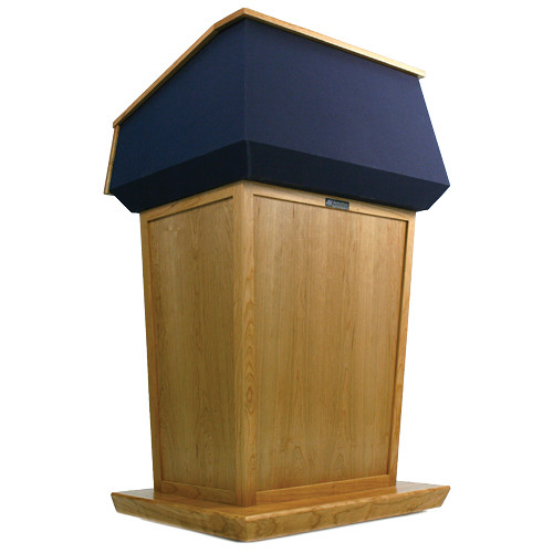AmpliVox Sound Systems Patriot Lectern (Non-Sound, Natural Oak with Blue Canvas Accent)