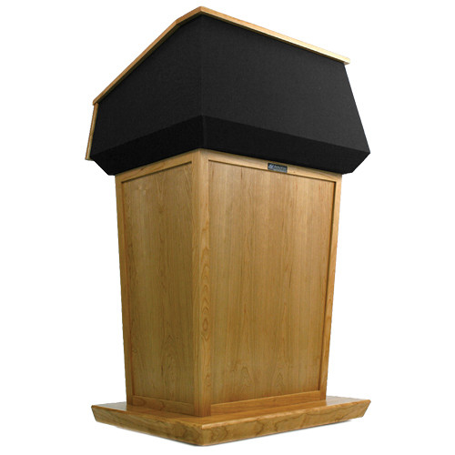 AmpliVox Sound Systems Patriot Lectern (Non-Sound, Natural Oak with Black Canvas Accent)