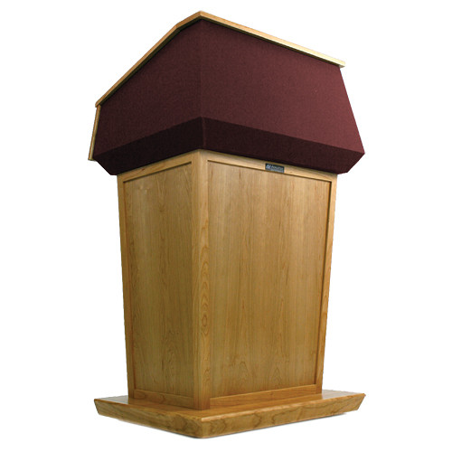 AmpliVox Sound Systems Patriot Lectern (Non-Sound, Natural Oak with Red Canvas Accent)