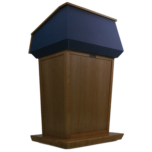 AmpliVox Sound Systems Patriot Lectern (Non-Sound, Walnut with Blue Canvas Accent)