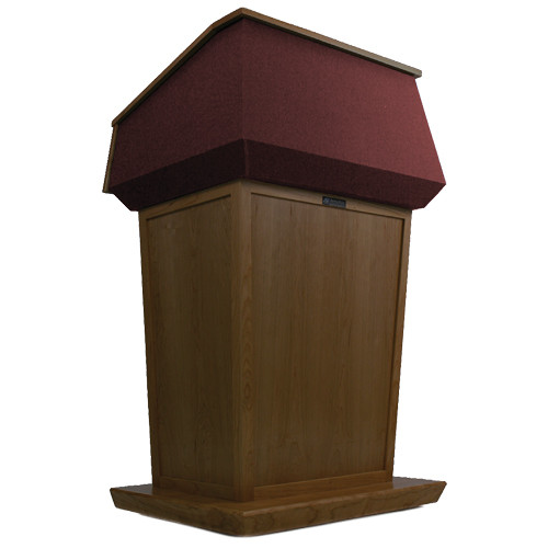 AmpliVox Sound Systems Patriot Lectern (Non-Sound, Walnut with Red Canvas Accent)