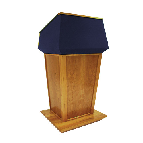 AmpliVox Sound Systems Patriot Plus Lectern (Non-Sound, Natural Cherry with Blue Canvas Accent)