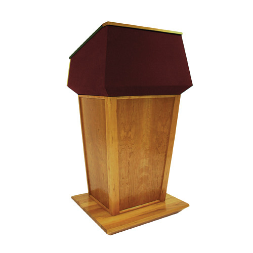 AmpliVox Sound Systems Patriot Plus Lectern (Non-Sound, Natural Cherry with Red Canvas Accent)