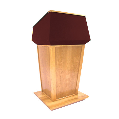 AmpliVox Sound Systems Patriot Plus Lectern (Non-Sound, Maple with Red Canvas Accent)
