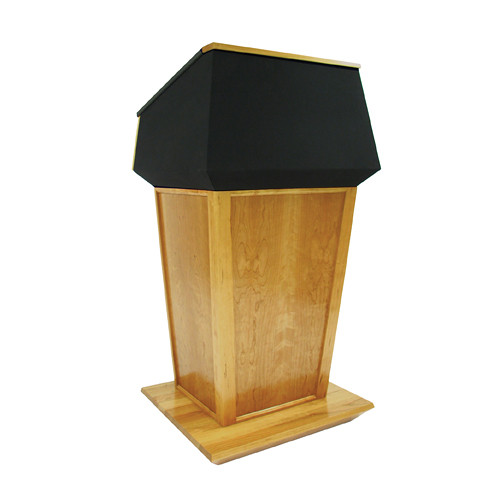 AmpliVox Sound Systems Patriot Plus Lectern (Non-Sound, Natural Oak with Black Canvas Accent)