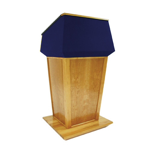 AmpliVox Sound Systems Patriot Plus Lectern (Non-Sound, Natural Oak with Blue Canvas Accent)