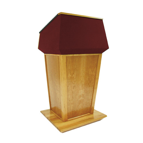 AmpliVox Sound Systems Patriot Plus Lectern (Non-Sound, Natural Oak with Red Canvas Accent)