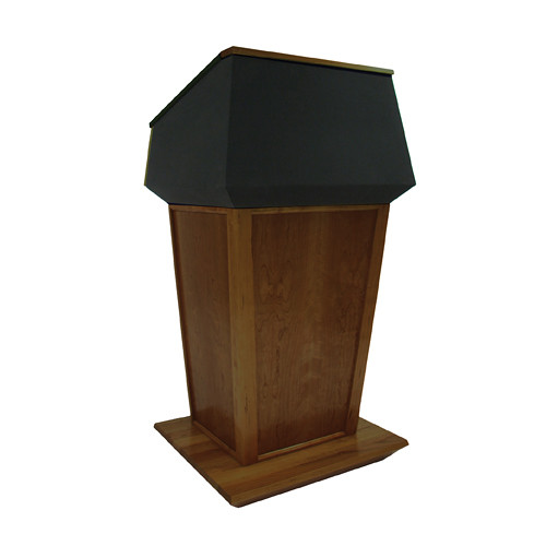 AmpliVox Sound Systems Patriot Plus Lectern (Non-Sound, Walnut with Black Canvas Accent)
