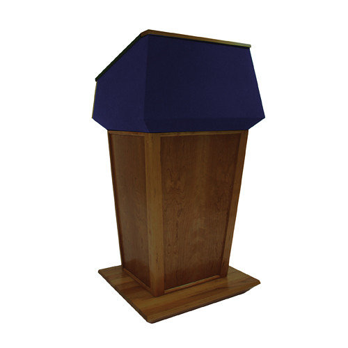 AmpliVox Sound Systems Patriot Plus Lectern (Non-Sound, Walnut with Blue Canvas Accent)