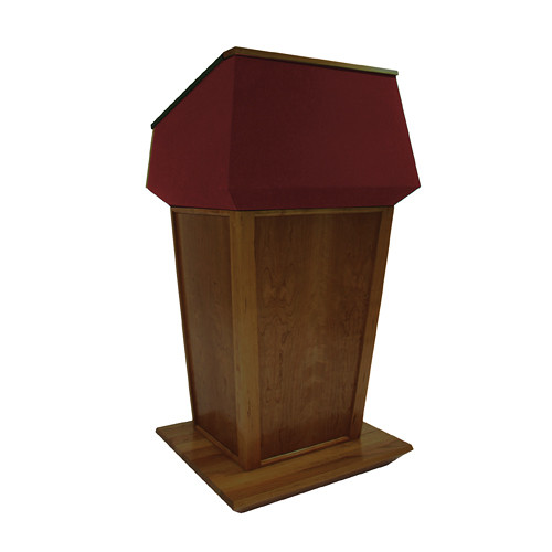 AmpliVox Sound Systems Patriot Plus Lectern (Non-Sound, Walnut with Red Canvas Accent)