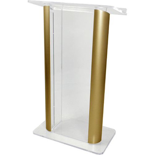 "AmpliVox Sound Systems Contemporary Clear Acrylic Tint and Gold Aluminum Panels Lectern (27"" Width)"
