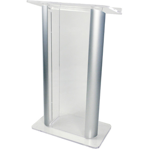 "AmpliVox Sound Systems Contemporary Clear Acrylic Tint and Silver Aluminum Panels Lectern (27"" Width)"