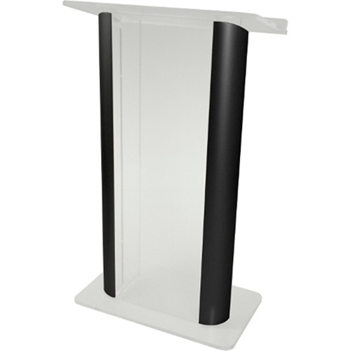 "AmpliVox Sound Systems Contemporary Frosted Acrylic Tint and Black Aluminum Panels Lectern (27"" Width)"