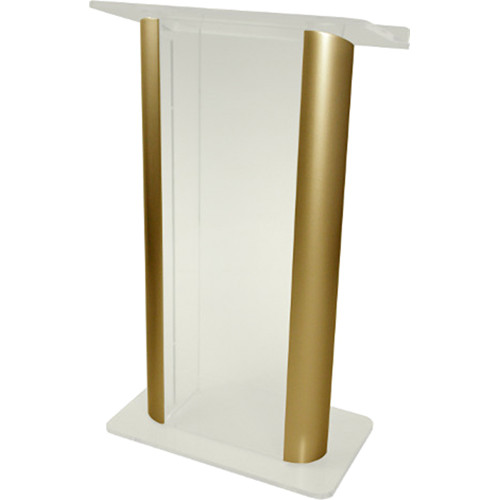 "AmpliVox Sound Systems Contemporary Frosted Acrylic Tint and Gold Aluminum Panels Lectern (27"" Width)"