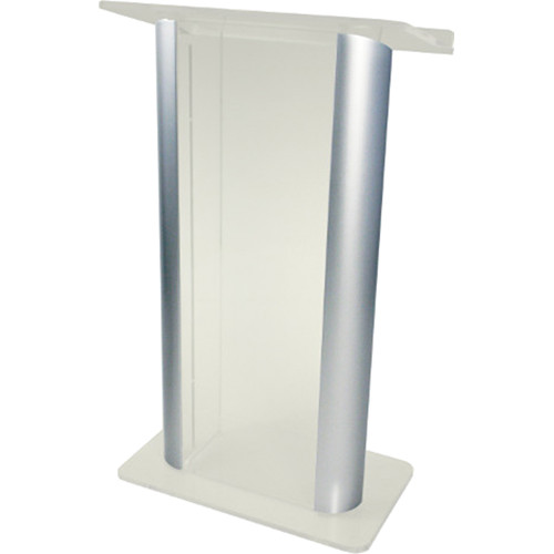"""AmpliVox Sound Systems Contemporary Frosted Acrylic Tint and Silver Aluminum Panels Lectern (27"""" Width)"""