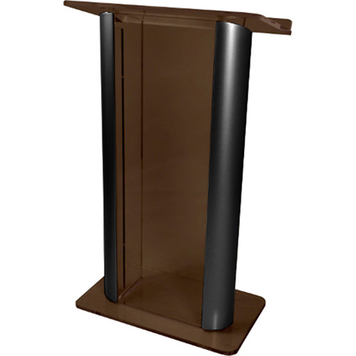 """AmpliVox Sound Systems Contemporary Smoked Acrylic Tint and Black Aluminum Panels Lectern (27"""" Width)"""