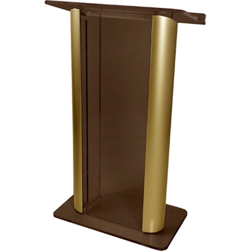 "AmpliVox Sound Systems Contemporary Smoked Acrylic Tint and Gold Aluminum Panels Lectern (27"" Width)"