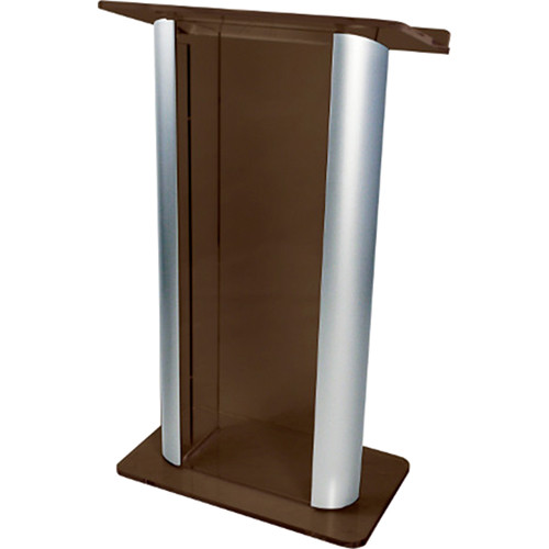 "AmpliVox Sound Systems Contemporary Smoked Acrylic Tint and Silver Aluminum Panels Lectern (27"" Width)"