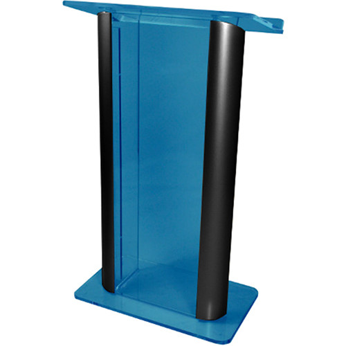 "AmpliVox Sound Systems Contemporary Custom Acrylic Tint and Black Aluminum Lectern (27"" Width)"