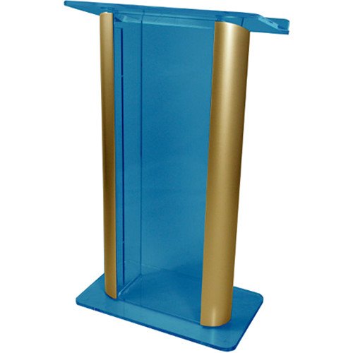 "AmpliVox Sound Systems Contemporary Custom Acrylic Tint and Gold Aluminum Lectern (27"" Width)"