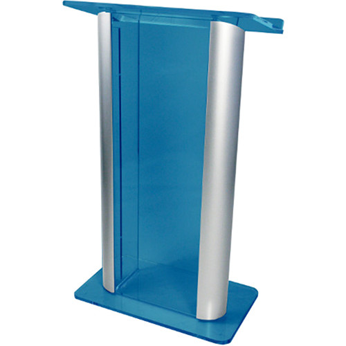 "AmpliVox Sound Systems Contemporary Custom Acrylic Tint and Silver Aluminum Lectern (27"" Width)"
