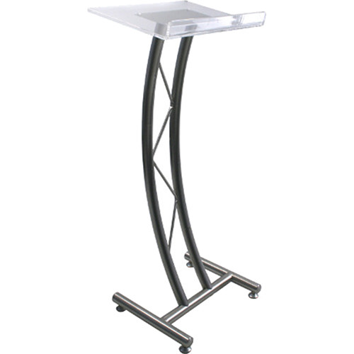 AmpliVox Sound Systems Curved Stainless Steel Truss Lectern with Clear Acrylic Top